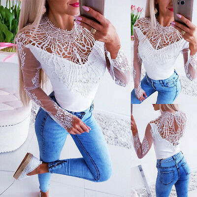 Womens Sexy Lace Mesh Top Ladies Long Sleeve Jumper Blouse Casual Shirt 10-16