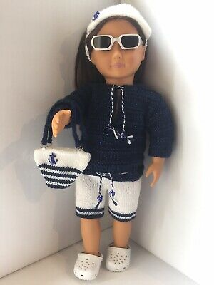 Hand Knitted Navy and White Summer Outfit with Crocs Our Generation Doll
