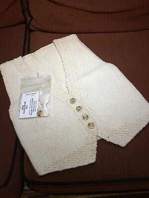 "HANDKNITTED GIRL'S ORGANIC WAISTCOAT, 100% MERINO UNDYED NATURAL WOOL, 30"" chest"