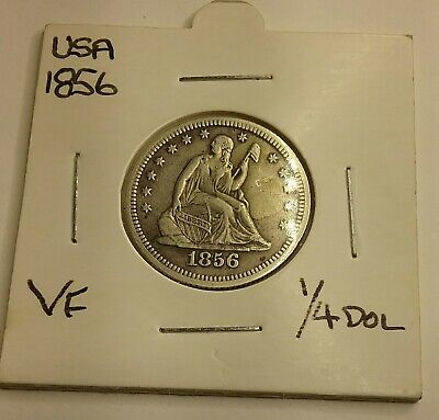 US 1856 Quarter  Dollar 90% Silver coin. Seated liberty.