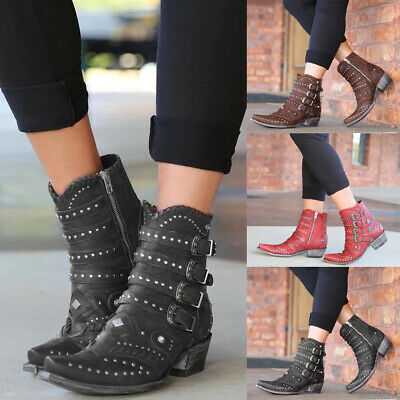 Women Cowboy Cowgirls Ankle Boots Studs Low Heel Ladies Western Shoes Size 4-7