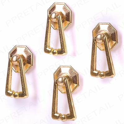 4 x SMALL BRASS DROP RING PULL HANDLE Cabinet Door Kitchen Cupboard Drawer Knob