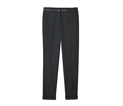 NWT The Kooples Stretch Trousers Pants Womens 38 Black Wool Straight Leg Cuffed