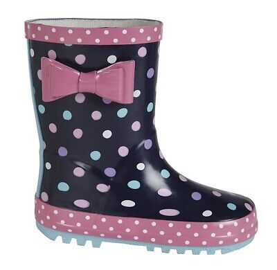Girls Infant Wellies Navy/ Pink Bow Stormwells Wellington Boots 5 to 2