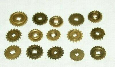 Collection Of Mixed Clock Brass Ratchet Wheels - 15-20mm