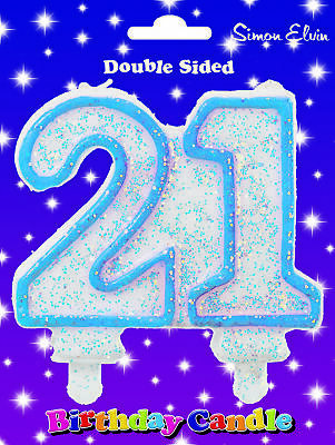 DOUBLE SIDED MOULDED JOINT NUMBER CANDLE HAPPY BIRTHDAY SIMON ELVIN CAKE TOPPER