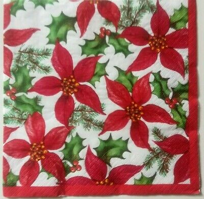 20 x Paper Napkins for Table Party Decoupage Christmas Flowers Poinsettia 172