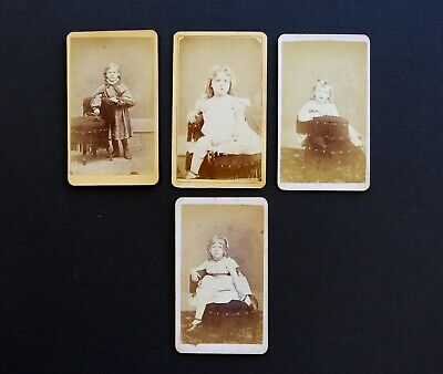 Photographs of Little Girls Antique Small Cabinet Photos Lot of 4