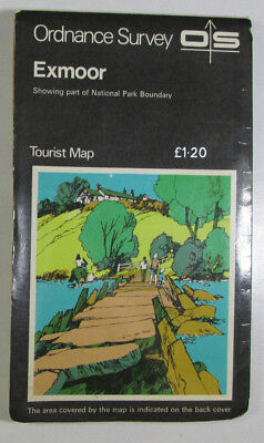 1975 Old Vintage OS Ordnance Survey One-Inch Tourist Map Exmoor