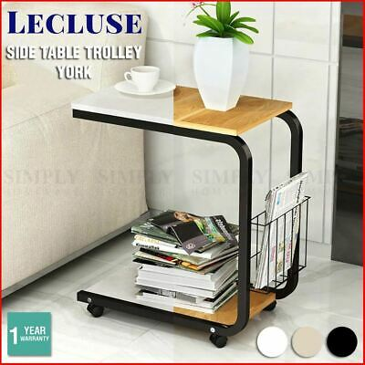 Lecluse Side Table Overbed Trolley Bedside Coffee Hospital Gloss Nightstand Sofa
