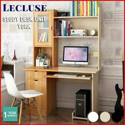 Lecluse Study Desk Office Computer Table Writing Student Wooden Shelf Storage PC