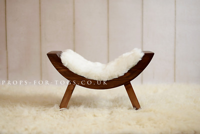 Wooden Stool, Curved Bench Newborn Baby Photography Prop Dark Stain