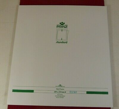 Prinz extra large A4 sized stamp mounts standard, Gard, black or clear back x5