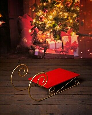 Red Wooden Sledge with metal scroll Christmas Winter Photo prop, decor, display
