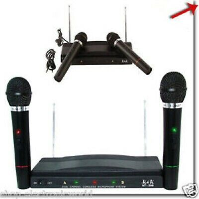 Kit Ricevitore Wireless Decoder Con 2 Microfoni At-306 Karaoke Conferenze Canto