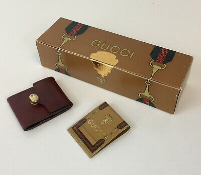 VINTAGE GUCCI 80s BORDEAUX LEATHER MATCH BOOK COVER W/UNOPENED BOX GUCCI MATCHES