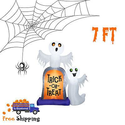 7ft Halloween Inflatable Ghosts W/ Tombstone Trick Or Treat Outdoor Yard Decor