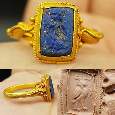 Ancient Roman Lapis Eagle 🦅 seal stone 22k Gold Ring # 23