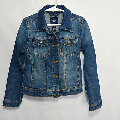 Gap Kids S Denim Jacket Girls Size Small Blue Jeans Clip Button Up Distressed