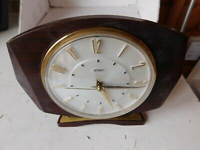 Vintage Metamec Electric Art Deco 1940s Wooden Mantle Clock untested for parts