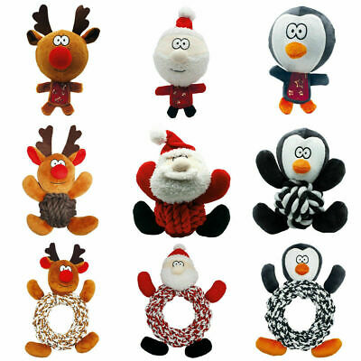 Happy Pet Christmas XMAS Dog Toys Big Head Ball Rope Rings Knottie with Squeaker
