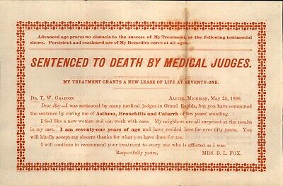 Antique 1896, Quack Medicine Testimony, Two Sided, Sentenced to Death