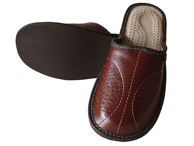 Mens Leather Slippers Slip On Shoes Size 7 8 9 10 11 UK Mules Hand Made Moccasin