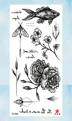 US Seller- rose flower fish black temporary tattoo tramp stamp cover up