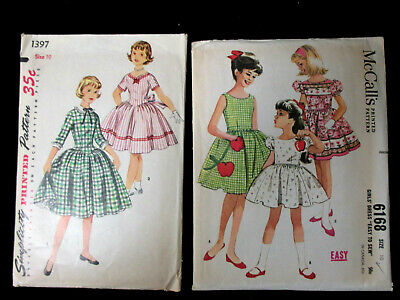 Vintage 60's Sewing Patterns Lot of 2 Girl's Dresses Size 10