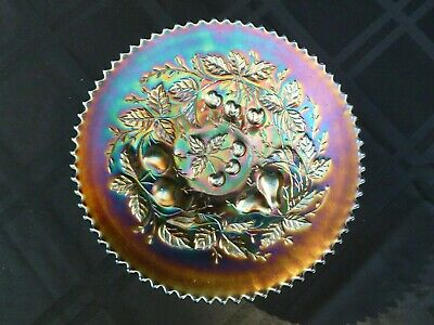 """Fantastic Northwood Amethyst Carnival Glass """"Three Fruits"""" Plate -  Signed"""