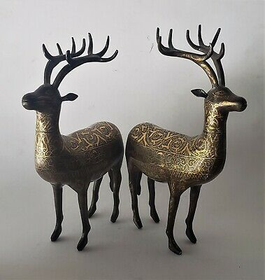 A Pair of Brass Deer w/Gold engraving design on their body  Qajar/Persian 19th