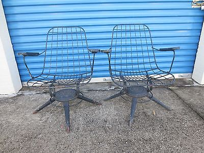 Enjoyable Pair Wire Arm Chairs Patio Mid Century Modern Mesh 2 Machost Co Dining Chair Design Ideas Machostcouk