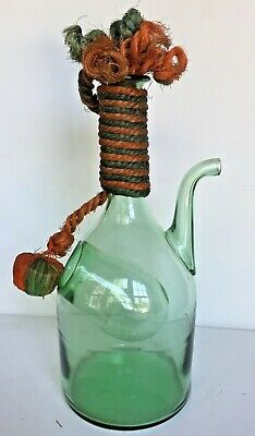 Vtg Hand Blown Green Italian Glass Wine Decanter Jug Carafe Bottle_Ice Chamber