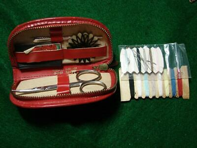 Vintage Zippered Sewing Kit Red Leather Case Made In Austria