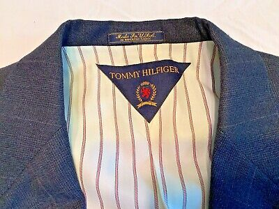Tommy Hilfiger Mens Sport Coat Blazer 40R Wool Three-Button Made USA