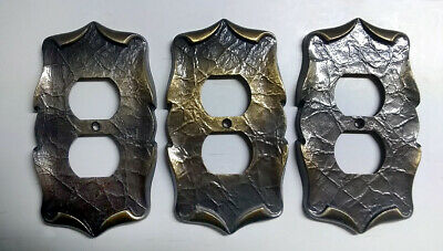 3 VINTAGE AMEROCK WALL RECEPTACLE PLATE COVERS - CARRIAGE HOUSE - Brass/Bronze