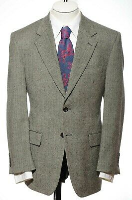 38R Chaps Classic Fit Gray Herringbone Lambs Wool Sport Coat Blazer Jacket S M