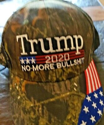 "CAMO  - TRUMP- 2020 HAT ""No More Bullshit""-  With Flag on Bill!-"