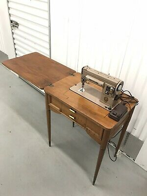 Vintage Singer 301A Portable Sewing Machine with Work Desk Cabinet