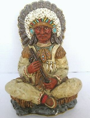 Native American Sitting Indian Chief Warrior Chalk Ware Sculpture, Signed Margie