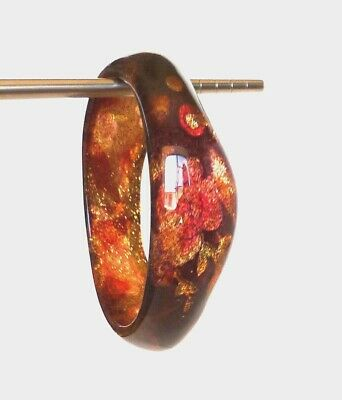 "Vintage Deep Red Flower Gold Glitter Core 2 5/8"" Inner Di Lucite Bangle Bracelet"