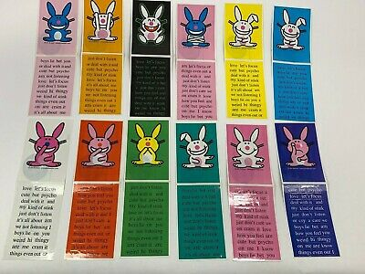 NEW Full set of 12 It's Happy Bunny Create Your Own Saying Stickers Vending