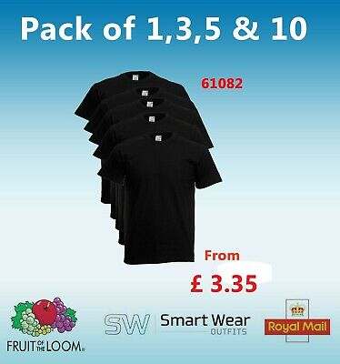 Pack of 1 3 5 10 (Lot) Men's Fruit Of The Loom 100% Cotton Black T Shirts 61082