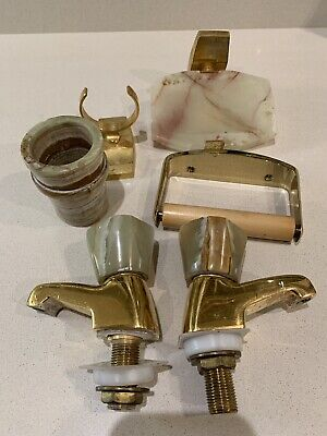 Vintage Marble Bathroom Set Soap Dish Bongio Brass M.dep Taps Toothbrush Holder