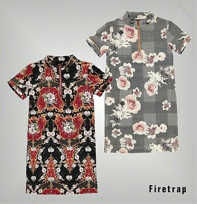 Girls Firetrap Short Sleeves High Neckline All Print Dress Sizes from 7 to 13