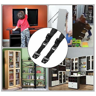 2 Pcs Baby Safety Metal TV Straps, DD Furniture Anti-Tip Straps Heavy Duty