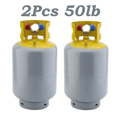 2Pcs 50lb Refrigerant Recovery Cylinder Steel 400PSI Refrigerant Reclaim Tank HM
