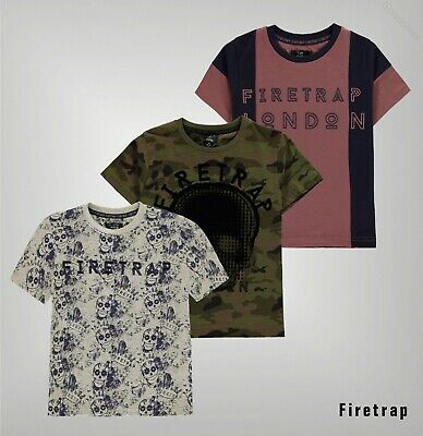 Boys Firetrap Crew Neck Elasticated Trim Short Sleeve T Shirt Sizes from 5 to 13