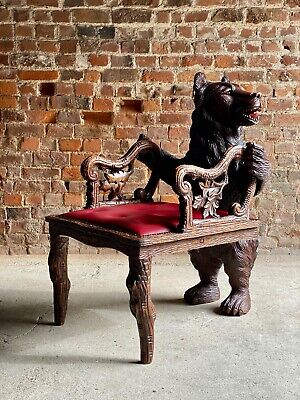 Antique Black Forest Carved Bear Hall Chair Armchair 19th Century circa 1875
