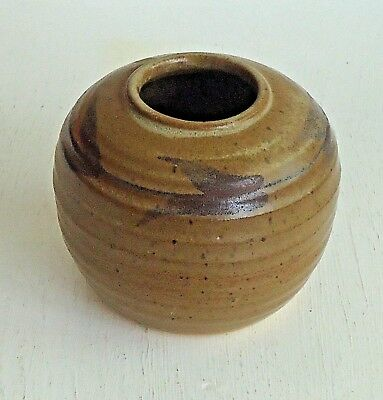 Lovely Australian Studio Pottery Orb Posy Vase *Earthy Brown Glazes *Marked